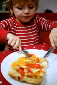 Child-friendly version of roasted vegetable tart tatin