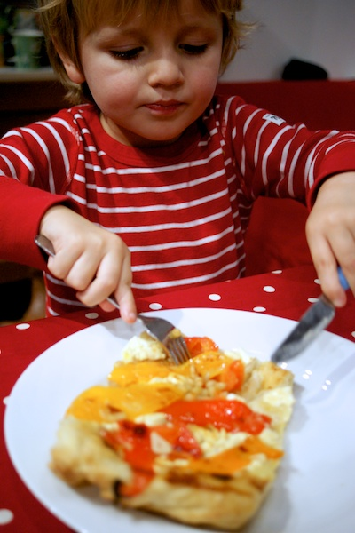 Child-friendly version of roasted vegetable tart tatin