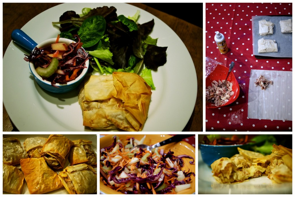 Turkey, brie and cranberry filo parcels with winter slaw