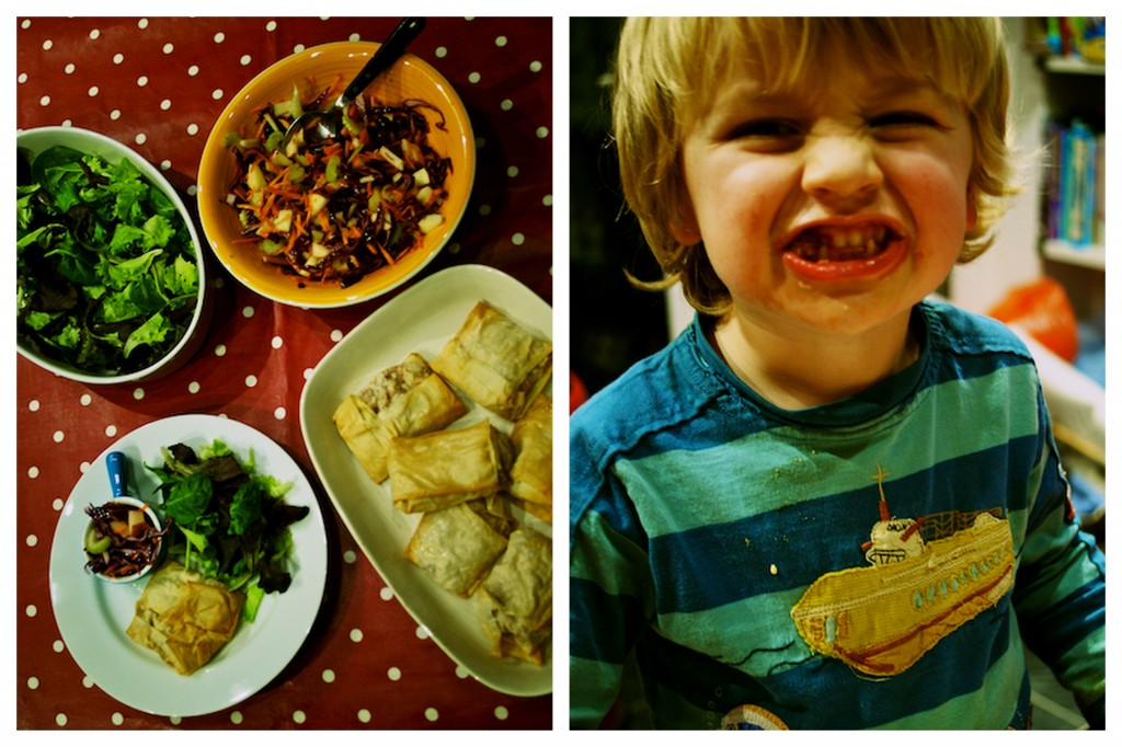 Serving up turkey, brie and cranberry parcels with winter slaw - Arlo LOVED this meal!