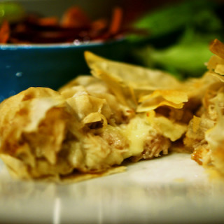 Turkey, brie and cranberry parcels with winter slaw