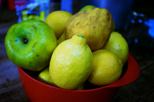 Apples, quince and lemons