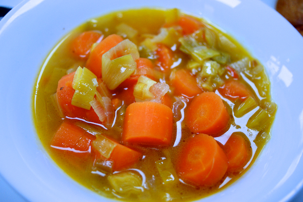 Carrot, cumin, leek and lime soup