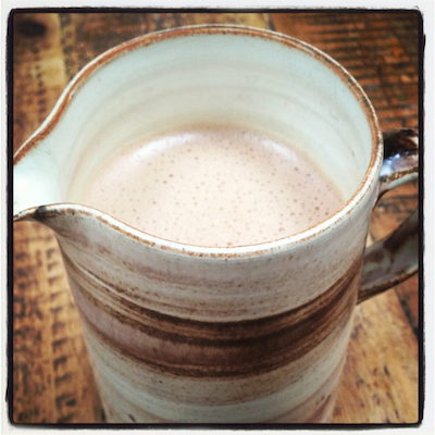 A jug of freshly made hot chocolate