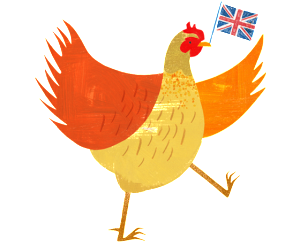 Chicken waving British flag