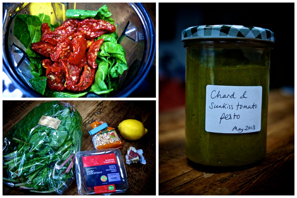 Making chard and sunkiss tomato pesto