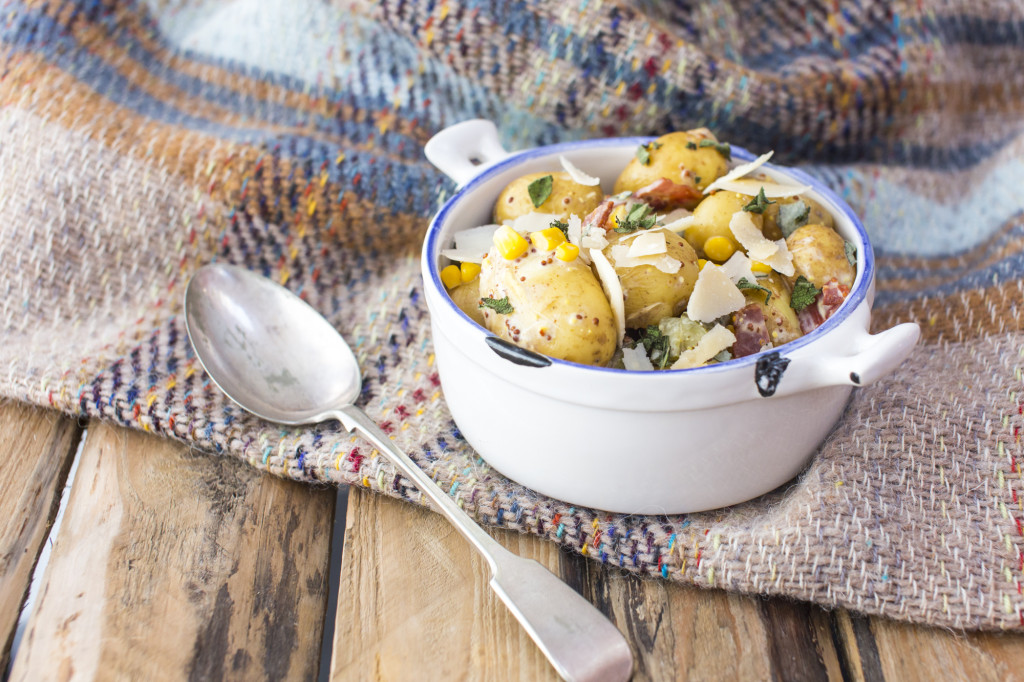 Potato salad with bacon and  parmesan