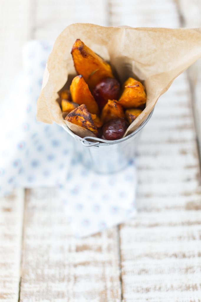 Sweet potato wedges with chorizo