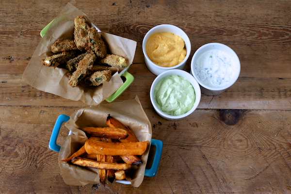 Fresh dips and roasted vegetable dippers