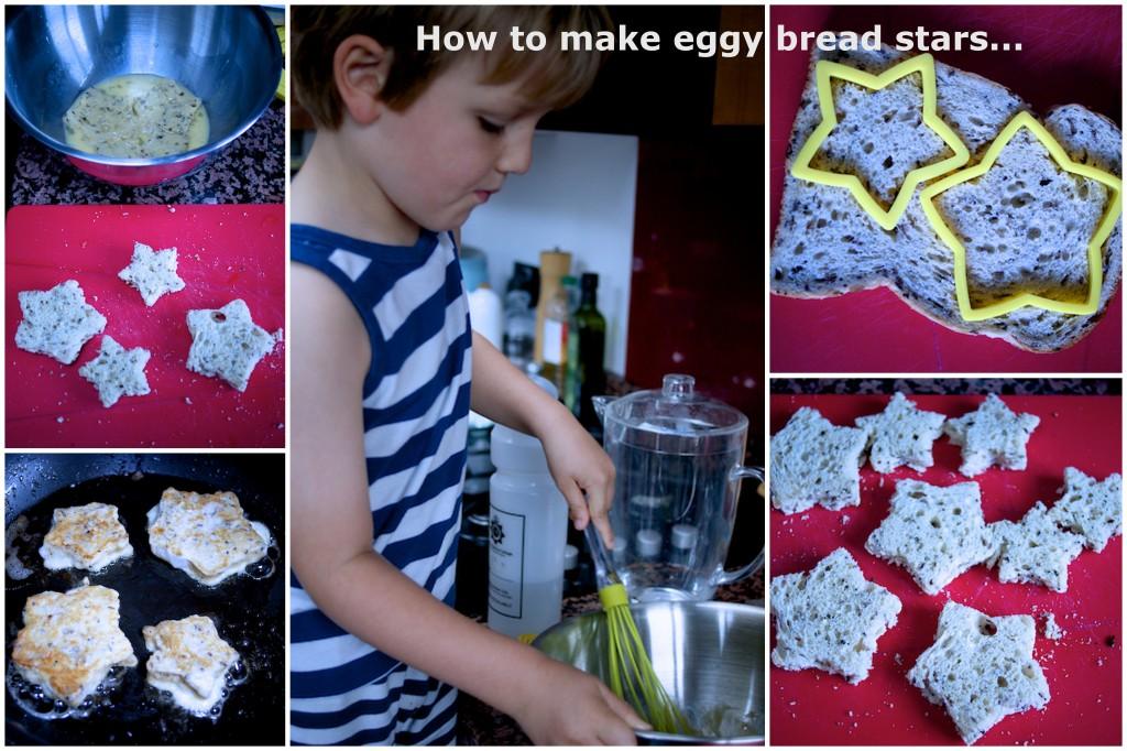 Making eggy bread stars