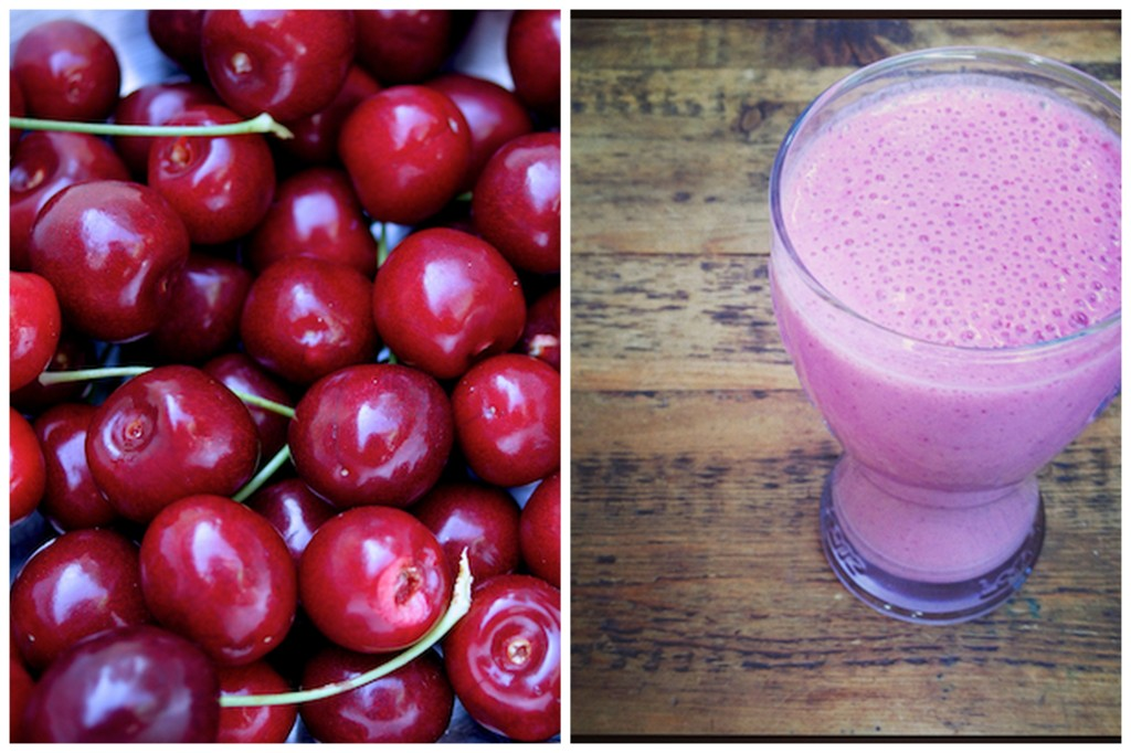Cherry and strawberry breakfast shake