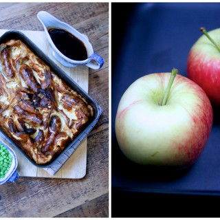Sausage and apple toad in the hole