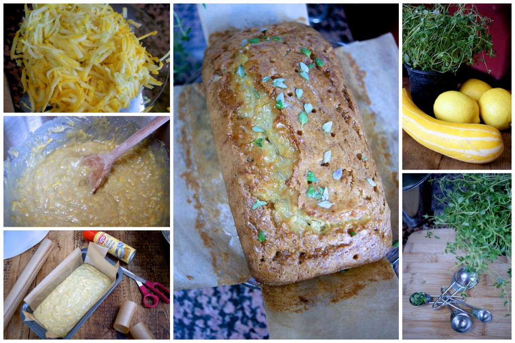 Making courgette, thyme and lemon drizzle loaf