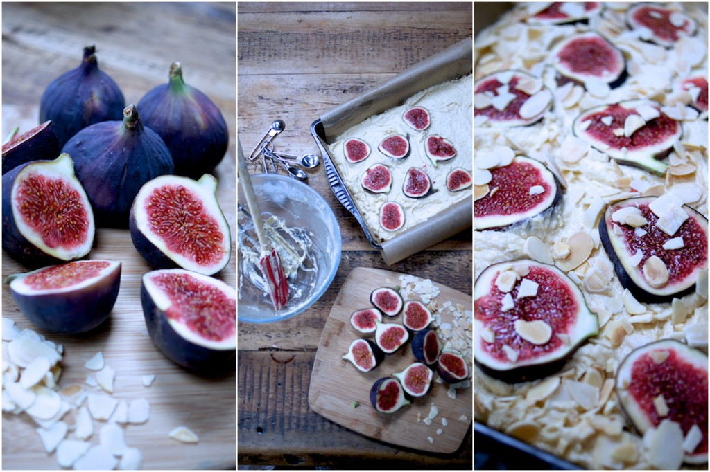 Making fig and almond cake