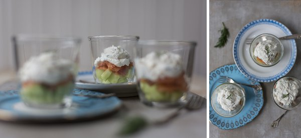Salmon, cucumber and ricotta pots