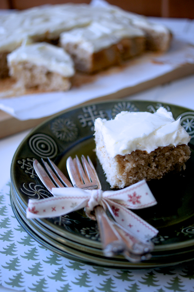 Spiced apple traybake with brandy butter cream cheese frosting by Katie Bryson for Parentdish