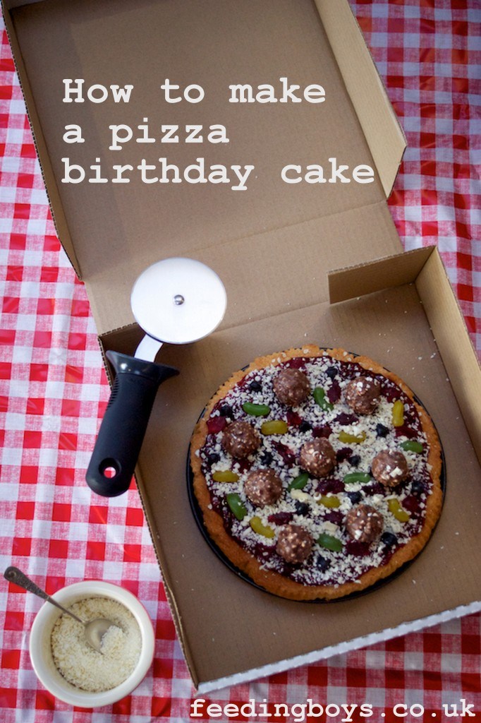 How to make a Pizza Birthday Cake by feedingboys.co.uk