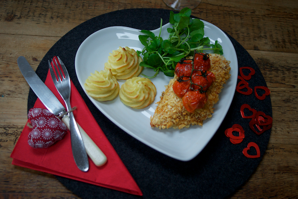 Crispy spiced chicken with duchess potatoes