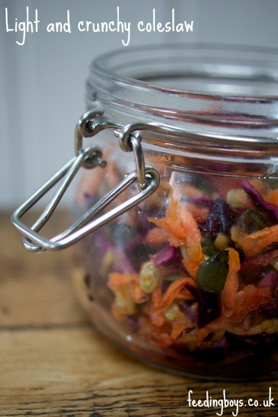 Light and crunchy coleslaw from feedingboys.co.uk