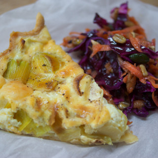 Leek and cheddar quiche with coleslaw