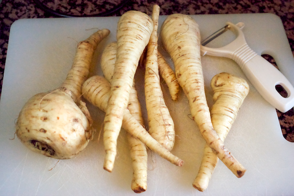 Parsnips ready for soup on Feeding Boys, photo by Katie Bryson