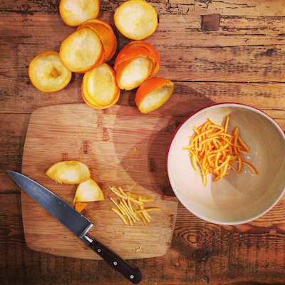 Preparing Seville orange marmalade