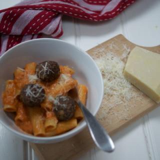 Creamy tomato rigatoni with veggie meatballs