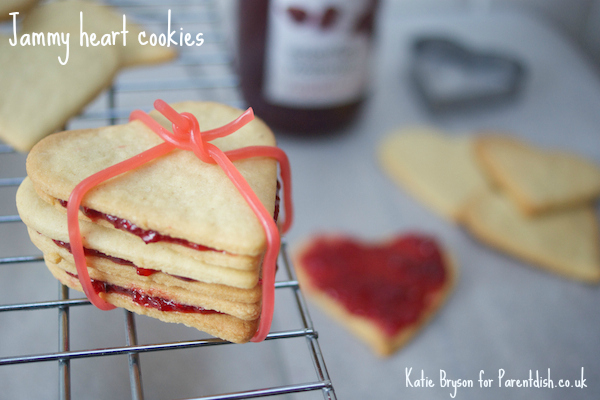 Jammy heart cookies by Katie Bryson for Parentdish.co.uk