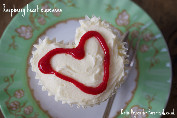 Raspberry heart cupcakes by Katie Bryson for Parentdish.co.uk