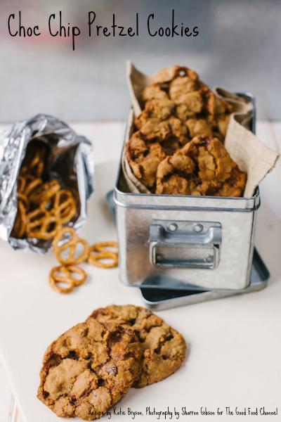 Choc Chip Pretzel Cookies:  recipe Katie Bryson, photo Sharron Gibson for the Good Food Channel