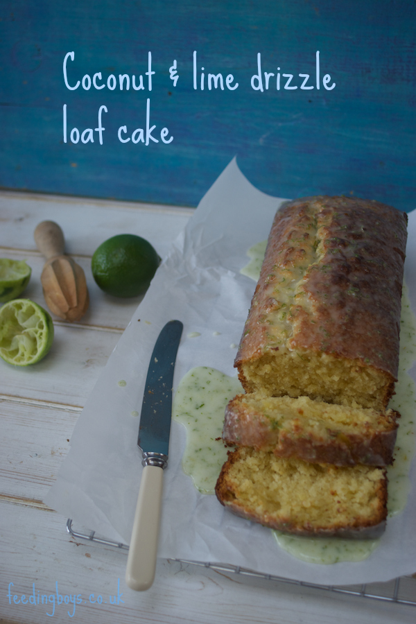 Easy coconut and lime loaf cake on feedingboys.co.uk