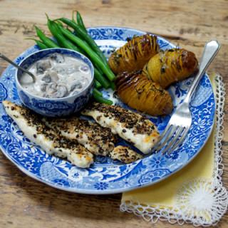 Pork Loin Steaks with Creamy Mushroom Sauce and Salt 'n' Thyme Potatoes