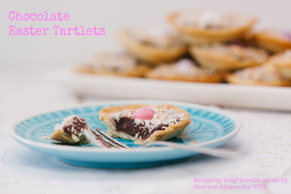 Chocolate Easter Tartlets, recipe by Lucy Lovell, photo by Sharron Gibson for UKTV