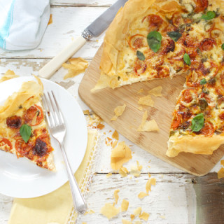 Roasted Tomato and Basil Filo Quiche