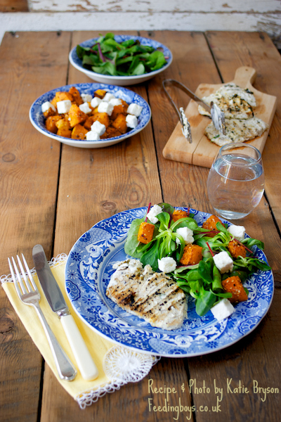 Thai spiced griddled pork with butternut and feta salad by Katie Bryson on feedingboys.co.uk
