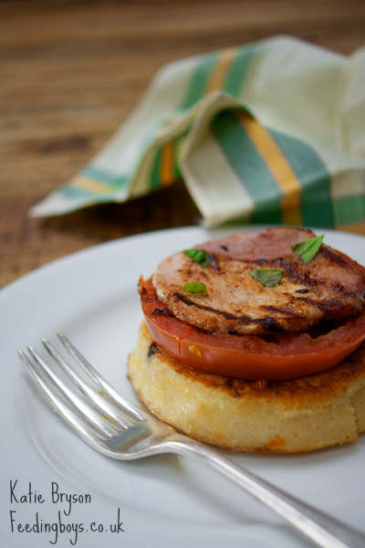 Eggy crumpet stack - recipe and photo by Katie Bryson on feedingboys.co.uk