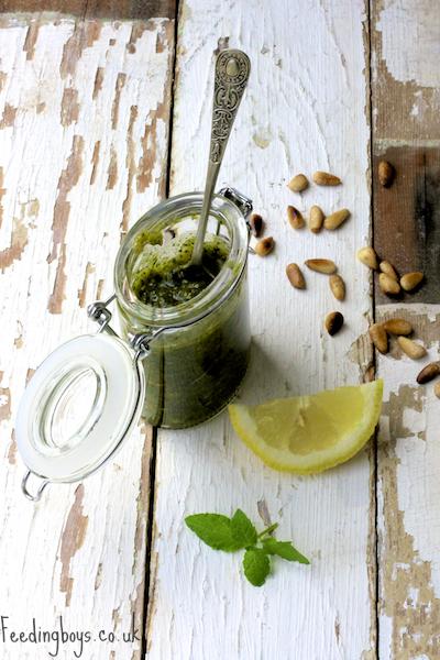 Lemon and Mint Pesto by Feedingboys.co.uk