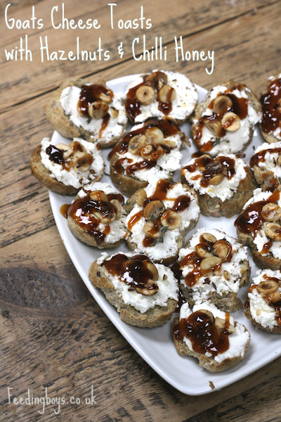 Quick party canapé: Goats Cheese Toasts with Hazelnuts and Chilli Honey on feedingboys.co.uk