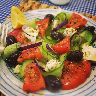 Greek Salad for Leiths Food Styling Course on Feedingboys.co.uk