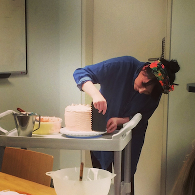 Sarah Cook demonstrates how to style cakes at Leiths