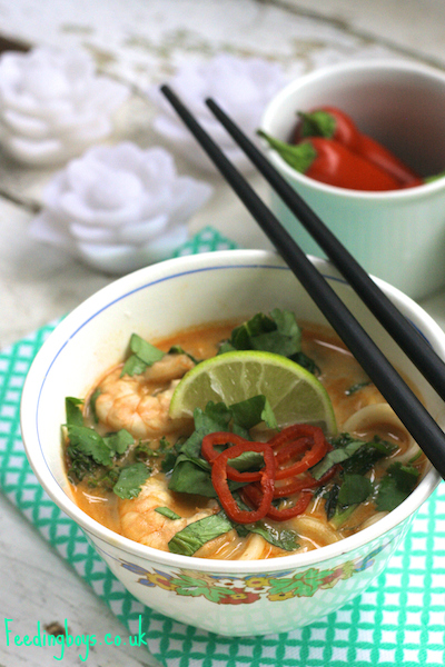 Spicy Prawn and Noodle Soup by Feedingboys.co.uk
