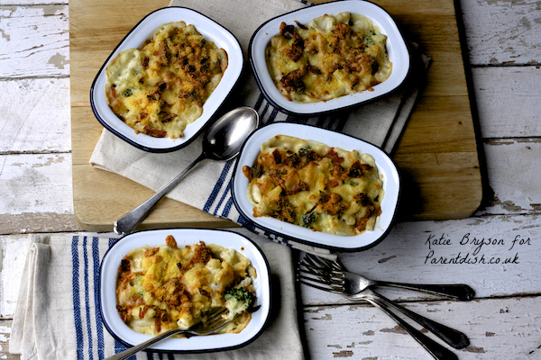 Broccoli and Chorizo Mac and Cheese Pots by Katie Bryson for Parentdish.co.uk