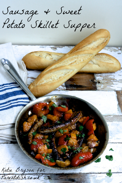 Sausage and Sweet Potato Skillet Supper by Katie Bryson for Parentdish.co.uk