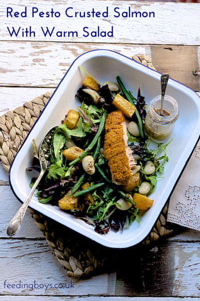 Red pesto crusted salmon with warm salad on feedingboys.co.uk