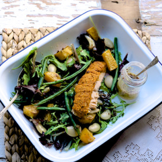 Red Pesto Crusted Salmon With Warm Salad