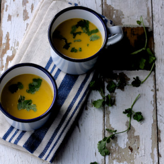 Spicy roasted sweet potato and carrot soup on feedingboys.co.uk