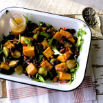 Roasted sprout and sweet potato salad with cranberry dressing on feedingboys.co.uk