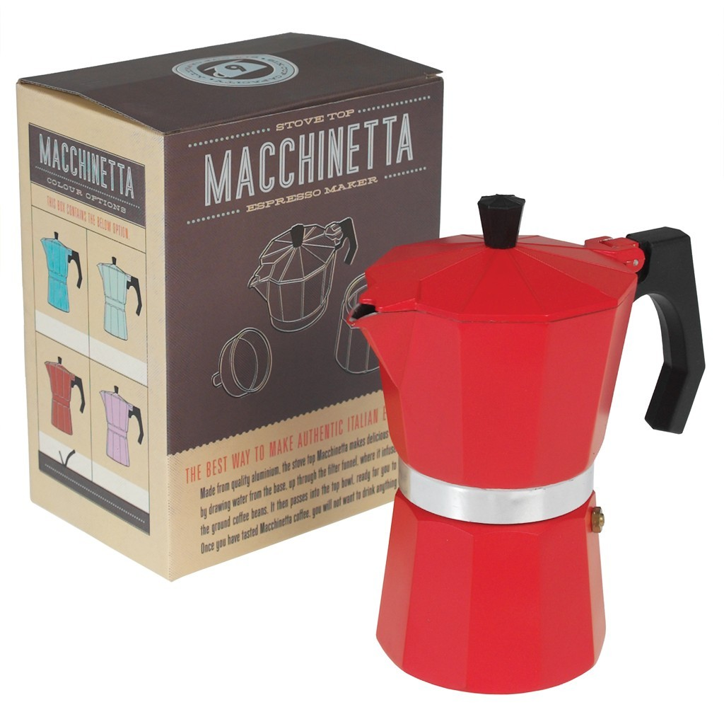 Win classic red espresso coffee pot from Dotcom giftshop with Feedingboys.co.uk
