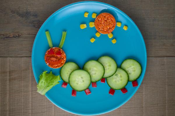 Cute Cucumber Caterpillar for Organix Fun Food Plates Campaign