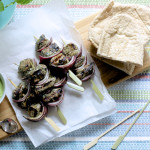 Minted Lamb Skewers with Pea and Feta Dip